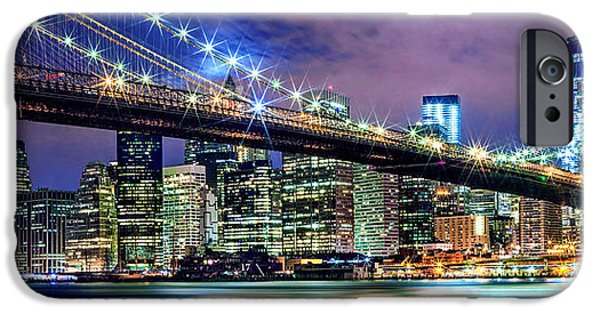 Financial District iPhone Cases - Star Spangled Skyline iPhone Case by Az Jackson