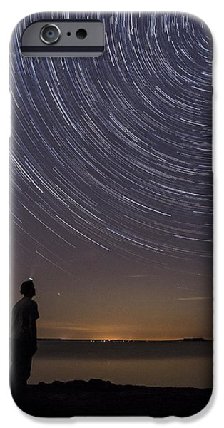 Nature Scene iPhone Cases - Star Trails night sky landscape Vermont Lake Champlain iPhone Case by Andy Gimino