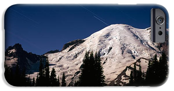 Mountain iPhone Cases - Star Trails Over Mountains, Mt Rainier iPhone Case by Panoramic Images