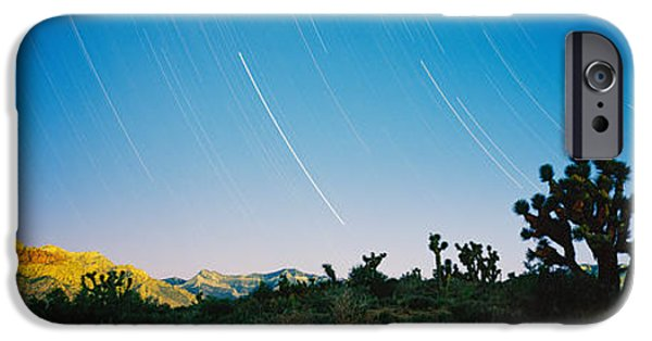 Red Rock iPhone Cases - Star Trails Over Red Rock Canyon iPhone Case by Panoramic Images