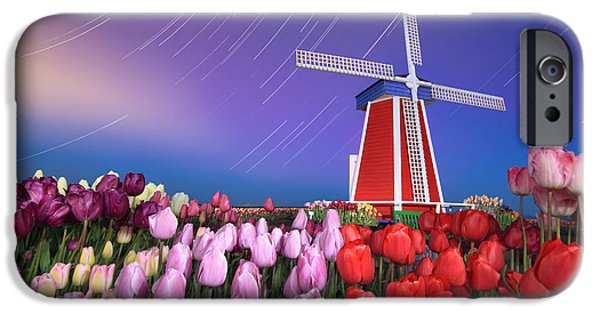 Star Trails Windmill And Tulips iPhone Case by William Lee