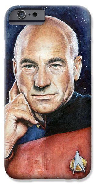 Watercolor Mixed Media iPhone Cases - Star Trek Captain Picard Portrait iPhone Case by Olga Shvartsur