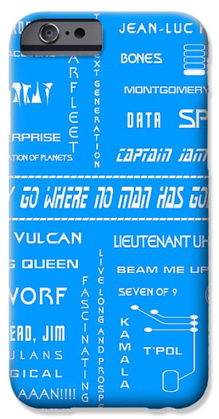 Enterprise Digital iPhone Cases - Star Trek Remembered in Blue iPhone Case by Nomad Art And  Design