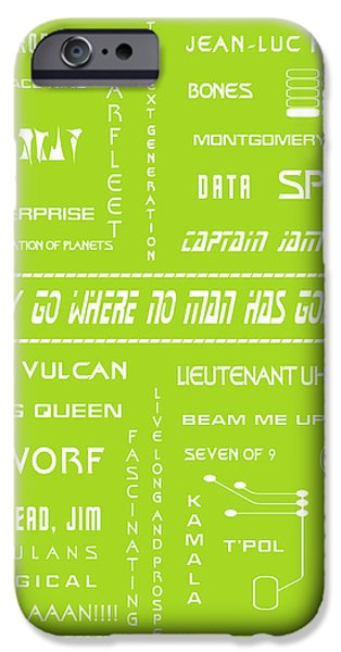 1990s iPhone Cases - Star Trek Remembered in Green iPhone Case by Nomad Art And  Design