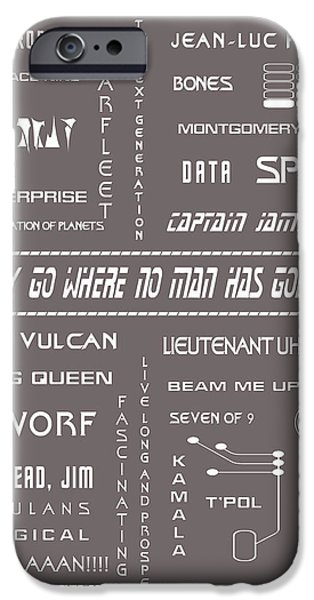 1990s iPhone Cases - Star Trek Remembered in Grey iPhone Case by Nomad Art And  Design