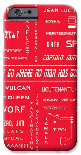 1990s iPhone Cases - Star Trek Remembered in Red iPhone Case by Nomad Art And  Design