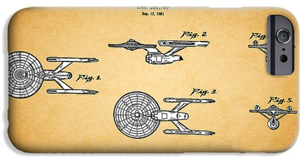 Enterprise Photographs iPhone Cases - Star Trek - Spaceship Patent 1981 iPhone Case by Mark Rogan