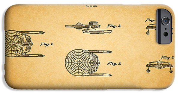Enterprise Photographs iPhone Cases - Star Trek - Spaceship Patent 1984 iPhone Case by Mark Rogan