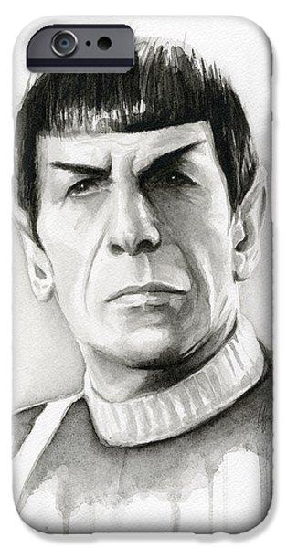 Science Fiction Paintings iPhone Cases - Star Trek Spock Portrait iPhone Case by Olga Shvartsur
