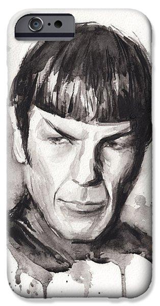 Science Fiction Paintings iPhone Cases - Star Trek Spock Portrait Sci-Fi Art iPhone Case by Olga Shvartsur