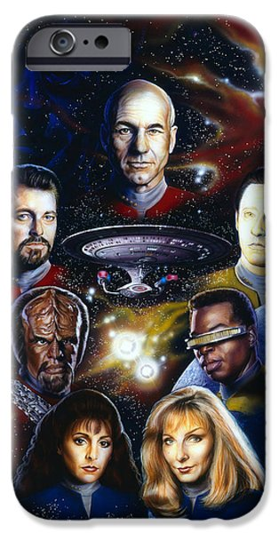 Science Fiction Paintings iPhone Cases - Star Trek TNG iPhone Case by Tim  Scoggins