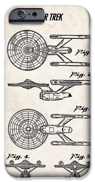 Science Fiction Drawings iPhone Cases - Star Trek USS Enterprise Patent Art iPhone Case by Stephen Chambers