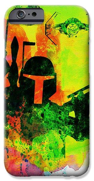 Film iPhone Cases - Star Warriors Watercolor 3 iPhone Case by Naxart Studio