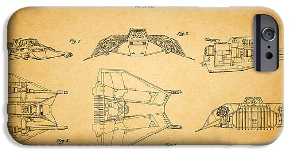Walker iPhone Cases - Star Wars - Space Craft Patent iPhone Case by Mark Rogan
