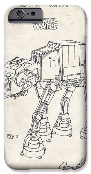 Collectible Mixed Media iPhone Cases - Star Wars At-At Imperial Walker Patent Art iPhone Case by Stephen Chambers