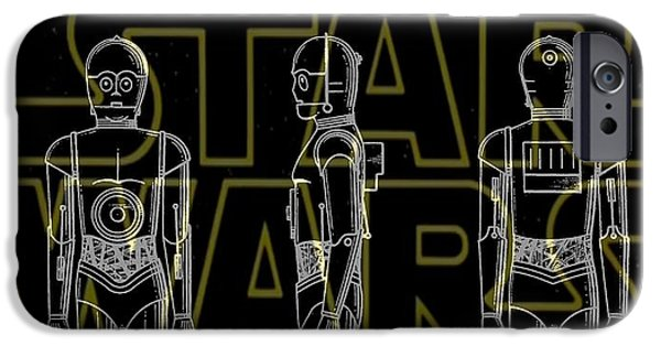 D.c. Mixed Media iPhone Cases - Star Wars C-3PO Patent iPhone Case by Dan Sproul