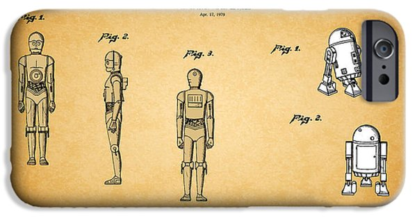War iPhone Cases - Star Wars - C3PO and R2D2 Patent iPhone Case by Mark Rogan