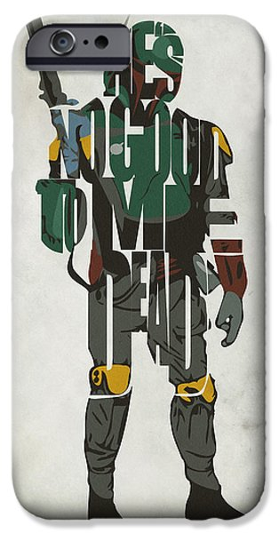 Comics iPhone Cases - Star Wars Inspired Boba Fett Typography Artwork iPhone Case by Ayse Deniz