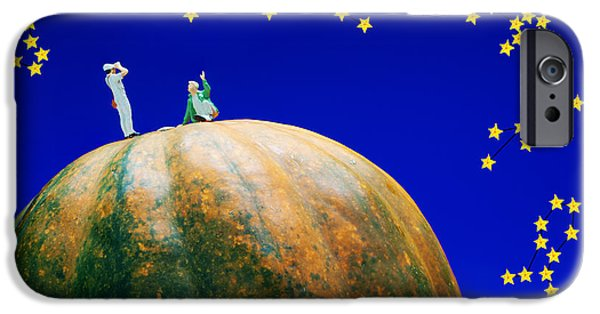 Constellations iPhone Cases - Star watching on pumpkin food physics iPhone Case by Paul Ge