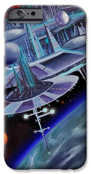 Black Hole Paintings iPhone Cases - Starbase I - Alisona  iPhone Case by James Christopher Hill