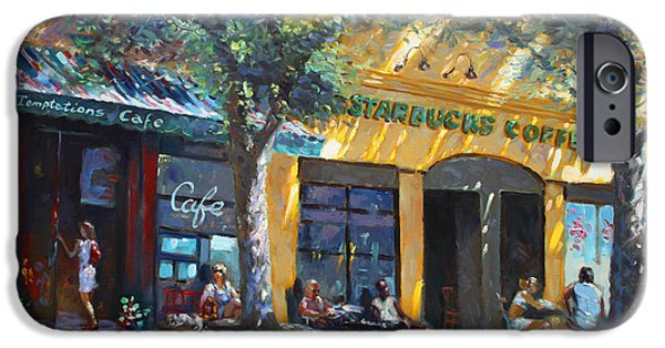 Temptation iPhone Cases - Starbucks Hangout Nyack NY iPhone Case by Ylli Haruni