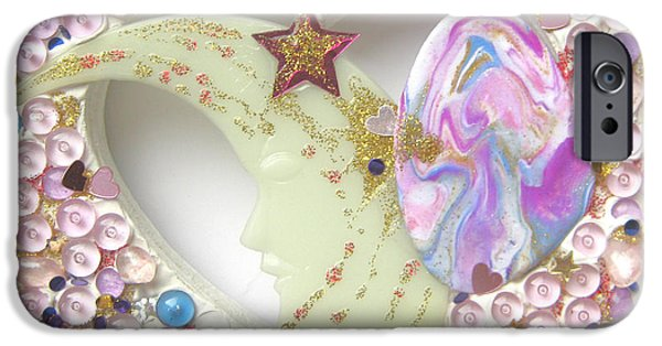 Rose Reliefs iPhone Cases - Starchild spreading stardust iPhone Case by Heidi Sieber