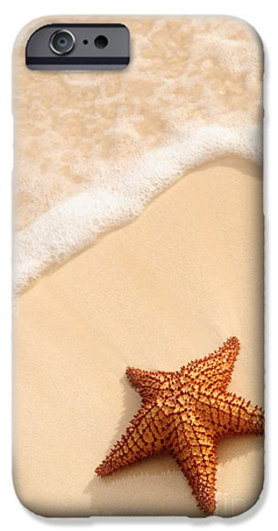 Sand iPhone Cases - Starfish and ocean wave iPhone Case by Elena Elisseeva