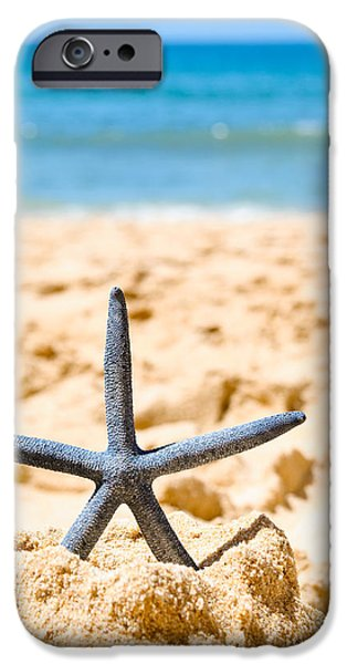 Sandcastle iPhone Cases - Starfish On Algarve Beach Portugal iPhone Case by Amanda And Christopher Elwell