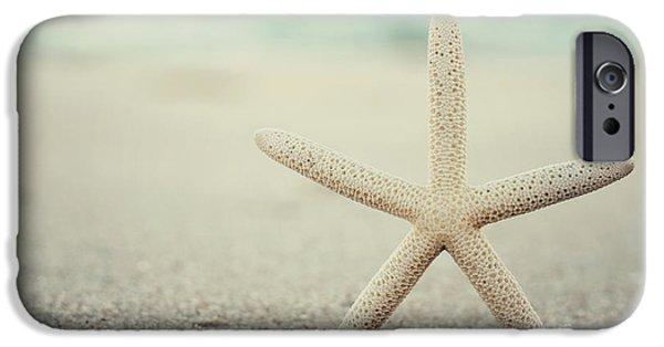 Seaside Heights iPhone Cases - Starfish on Beach Vintage Seaside New Jersey  iPhone Case by Terry DeLuco