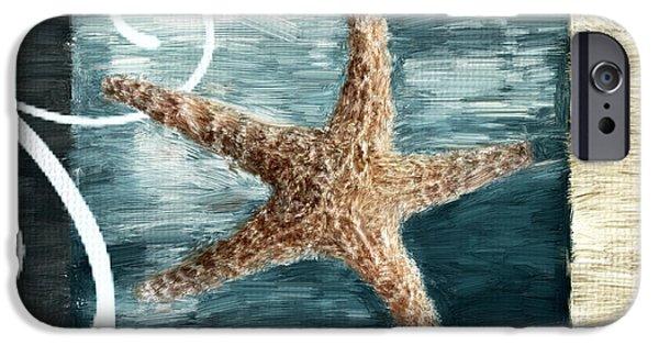Beach Digital Art iPhone Cases - Starfish Spell iPhone Case by Lourry Legarde