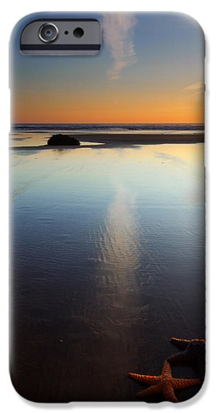 Oregon Coast iPhone Cases - Starfish Sunset iPhone Case by Mike  Dawson