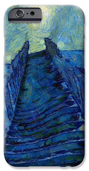 Experience Paintings iPhone Cases - Stargate Stairs iPhone Case by Dan Sproul