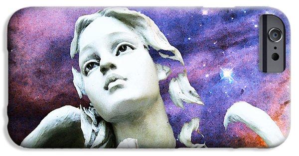 Angel. Spiritual iPhone Cases - Stargazer - Angel Art By Sharon Cummings iPhone Case by Sharon Cummings