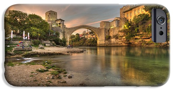 Staris iPhone Cases - Stari Most at dusk  iPhone Case by Rob Hawkins