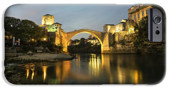 Staris iPhone Cases - Stari Most by night  iPhone Case by Rob Hawkins