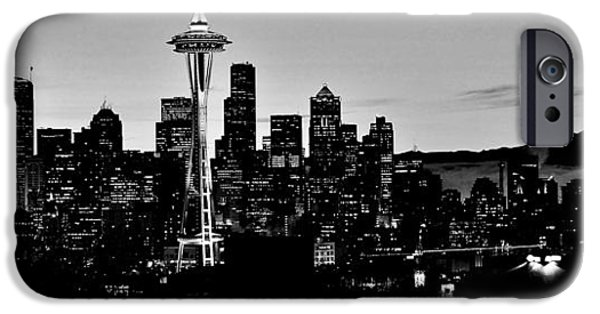 Design iPhone Cases - Stark Seattle Skyline iPhone Case by Benjamin Yeager