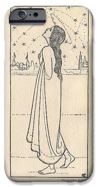 Night Angel iPhone Cases - Starlight nymph angel contemplates the Night Sky iPhone Case by Piepoint Bay Archives