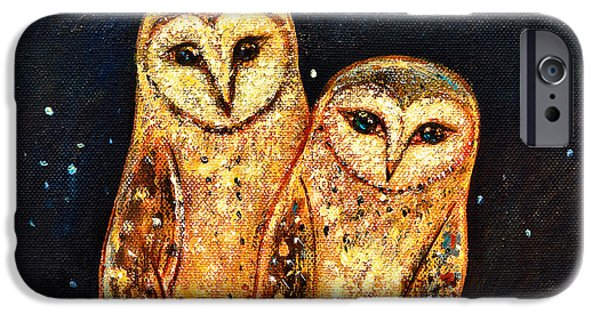 Snowy Night iPhone Cases - Starlight Owls iPhone Case by Shijun Munns