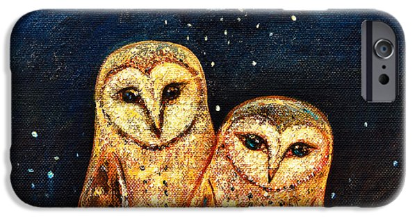 Snowy Night Paintings iPhone Cases - Starlight Owls iPhone Case by Shijun Munns