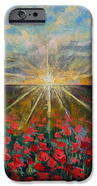 Field. Cloud Paintings iPhone Cases - Starlight Poppies iPhone Case by Michael Creese