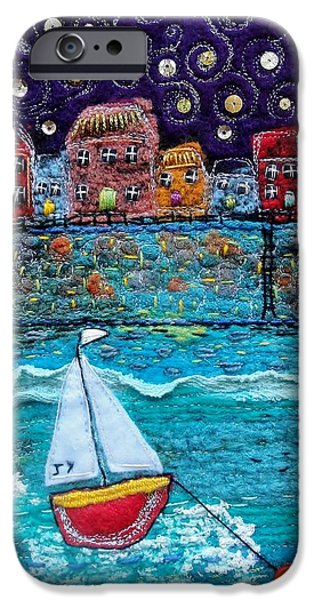 Transportation Tapestries - Textiles iPhone Cases - Starlit Harbour iPhone Case by Janice MacDougall