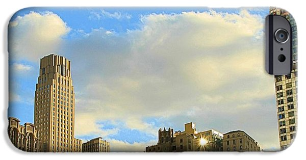Angel Blues iPhone Cases - Manhattan Skyline Here Comes The Sun iPhone Case by Dan Sproul