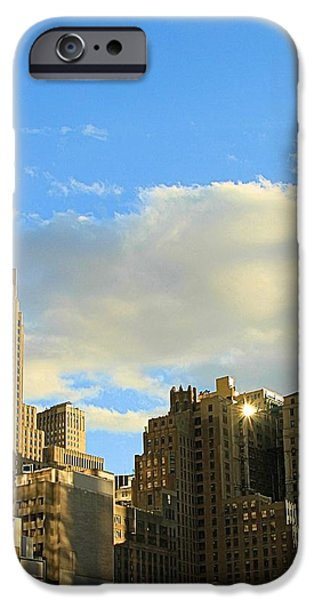 Manhattan Skyline Here Comes The Sun iPhone Case by Dan Sproul