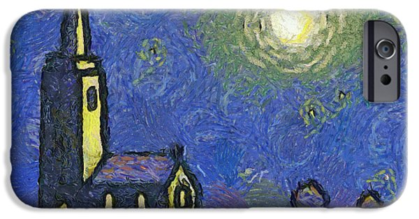 Vincent iPhone Cases - Starry Church iPhone Case by Pixel Chimp