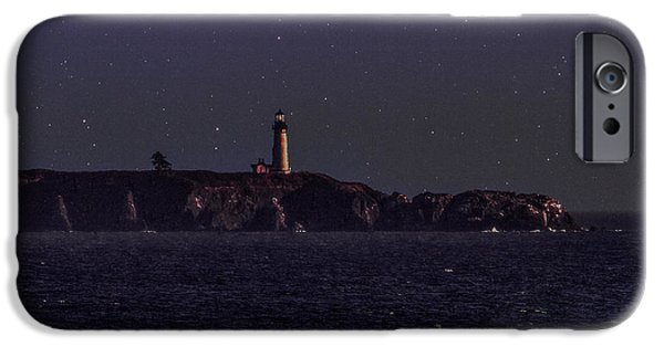 Lighthouse Tapestries - Textiles iPhone Cases - Starry Night at the Coast iPhone Case by Dennis Bucklin