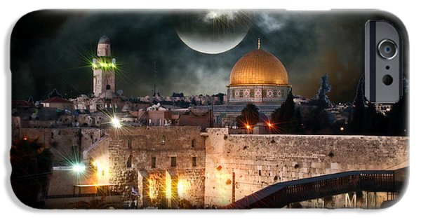 Sacrifice Mixed Media iPhone Cases - Starry Night At The Dome of the Rock iPhone Case by Michael Braham