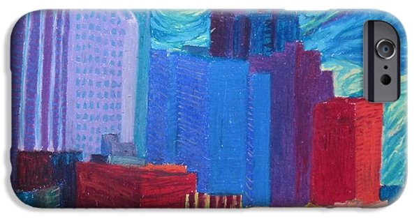 City Scape Pastels iPhone Cases - Starry Night City iPhone Case by Cherie Sexsmith