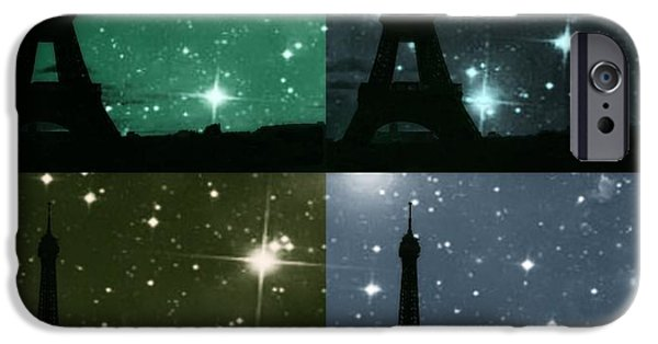 City Scape Photographs iPhone Cases - Starry Night - Eiifel Tower Paris iPhone Case by Marianna Mills