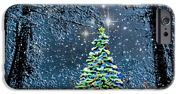 Snowy Night iPhone Cases - Starry Night Forest Christmas iPhone Case by Michele  Avanti