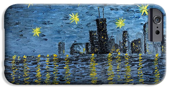Derrick Rose iPhone Cases - Starry Night in Chicago iPhone Case by Rafay Zafer